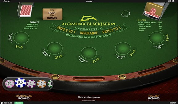 Joaca Blackjack Cashback la eFortuna Casino – reguli de joc si mod demo integrat