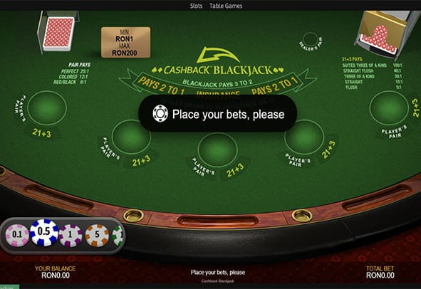 Cashback Blackjack in varianta demo